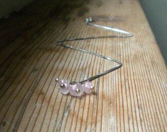 Pink quartz necklace, Quartz pendant, Quartz jewelry, silver jewelry, silver necklace