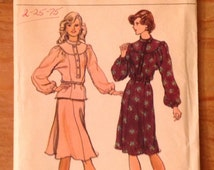 1975 pullover dress pattern Vogue 8993 Misses' size 10, women's button placket dress or top, gored skirt, vintage OOP sewing pattern supply