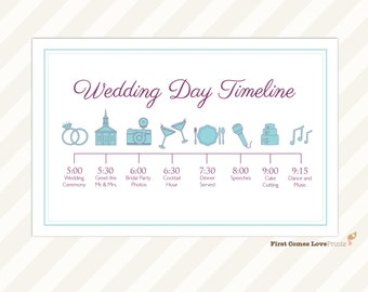 Wedding Day Timeline Card ~ Itinerary for Guests ~ Big Day Schedule ~ Printable File ~ Customize with Events and Times ~ Choose Any Colors