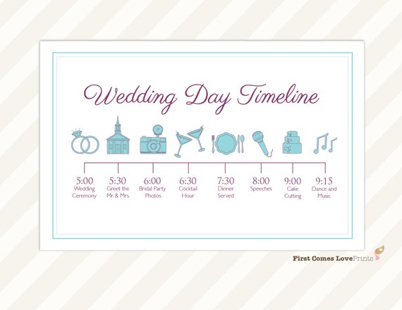wedding day timeline card itinerary for guests big day