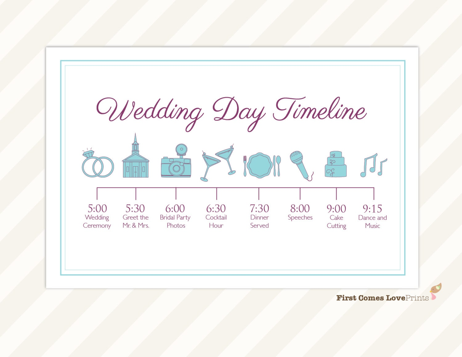 Wedding day timeline card itinerary for guests big day zoom junglespirit Images