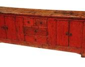 Original antique red buffet cabinet from Terra Nova Designs Los Angeles