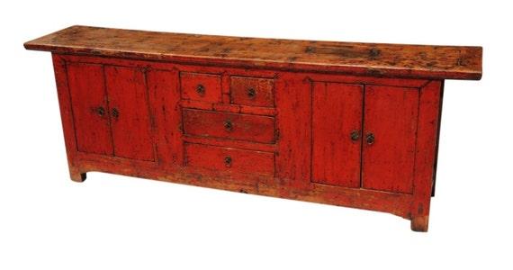 Original antique red buffet cabinet from Terra Nova Designs Los Angeles - Original Antique Red Buffet Cabinet From Terra Nova Designs