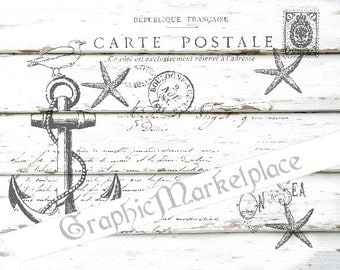 Carte Postale Anchor Beach Instant Download Transfer to Pillows Burlap digital collage sheet graphic printable No. 1117