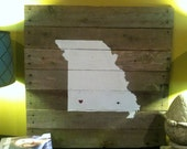 "Your state & Your city - Vintage plank wood sign 28""x36"""