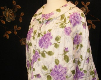 Fabulous 1950s- 1960s quilted bed jacket with lilac floral design