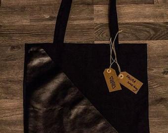 Handmade totebag with fake-leather