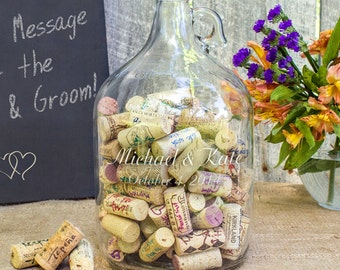 Personalized Wedding Wishes in a Bottle Guest Book, Wedding Guest Book Alternative, Beer Growler Guest Book, Wine Cork, Rustic Wedding, Gift