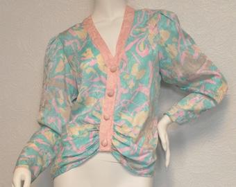 Vintage 1980s 80s Flora Kung SILK Jacket Blouse Cardigan Pastels Puff Sleeves 6