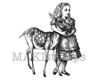 Rubber stamp Alice with fawn / Alice in Wonderland stamp (140802)