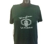 80's Wingham Tyke Basketball T-shirt / 1980's Sports Tee Shirt / Athletic Camp Shirt / 9 Nine / Green White / 50/50 / Penmans / Medium Med M