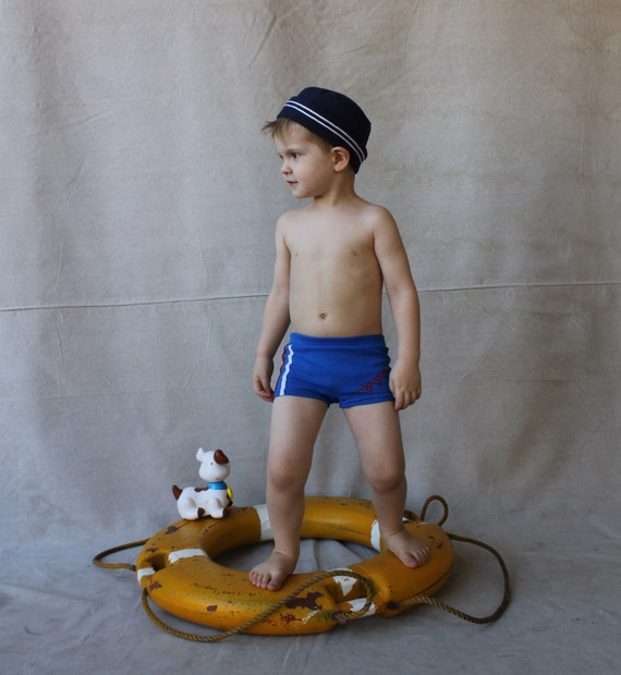 Vintage Blue Knit Speedo Boy Swim Trunks Swim by Twinklestarmoon