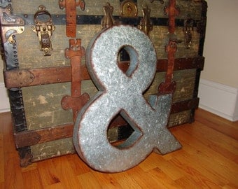 Ampersand & Metal Letter,galvanized,vintage,rustic,wedding,photo booth,engagement,home decor,photo collage wall,office,dorm,channel letter