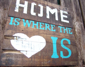 Home Is Where The Heart Is Pallet Wood Sign Rustic Country Home Decor Old