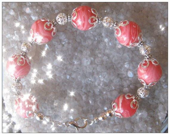 Handmade Silver Bracelet with Rhodonite by IreneDesign2011