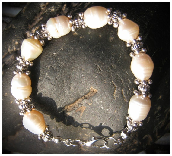 Handmade Silver Bracelet with White Sea Pearls by IreneDesign2011