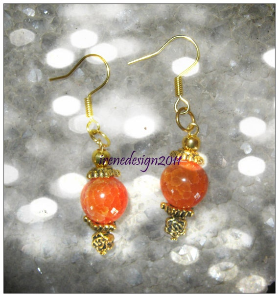 Handmade Gold Earrings with Yellow Dream Agate & Rose by IreneDesign2011