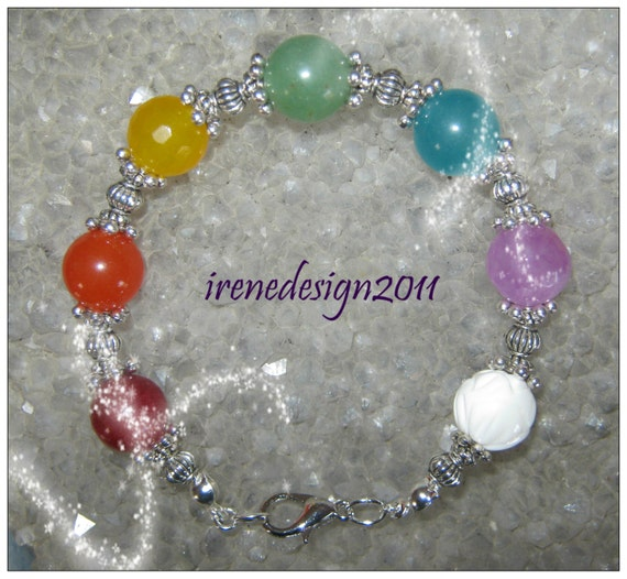 Handmade Silver Chakra Bracelet with 7 Gemstones by IreneDesign2011