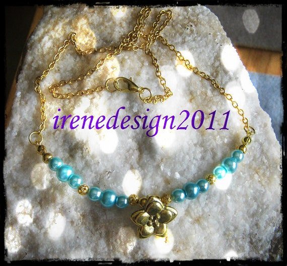 Beautiful Handmade Gold Necklace with Turquoise Pearls & Flower by IreneDesign2011