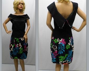 Vintage 80s Dress, Lillie Rubin Dress - Short Black and Floral Dress