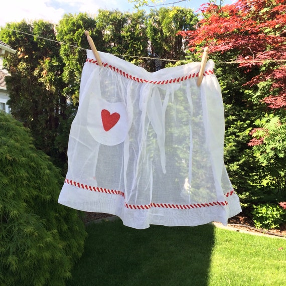 Vintage White Waist Style Apron With Red Heart on Pocket