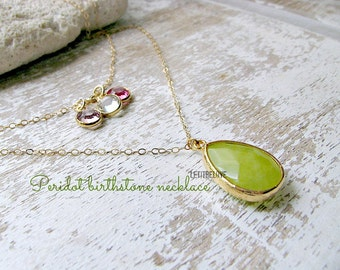 Layered Peridot Necklace 14k Birthstone Necklace Peridot Jewelry Personalized Jewelry Mothers Necklace Bridesmaid Sets Beach Wedding August
