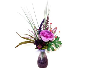 Dining Room Decor Silk Flower Arrangement Table Centerpiece, Bathroom Vanity Decor, FREE SHIPPING, Stylish in Violet in Patique Collection