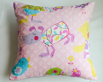 Fabricut's Playland in Pink with Purple, Yellow and Teal  Pillow Cover-Select the Color of the Back Fabric