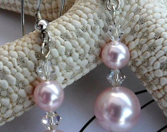 J0481 - Sterling Silver Pink Swarovski Pearl and Crystal Earrings