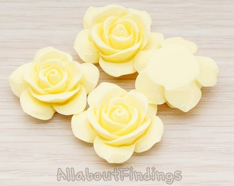 CBC189-MY // Milk Yellow Colored Rose Flower Flat Back Cabochon, 2 Pc