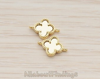 CNT117-G // Glossy Gold Plated Four Leaf Clover Connector, 2 Pc