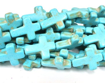 "Turquoise Cross Beads, Stone Crosses, 15x12mm Magnesite Cross, Turquoise Howlite Crosses, 16"" Strand, 25 PCS, Cross Jewelry, Wholesale Beads"