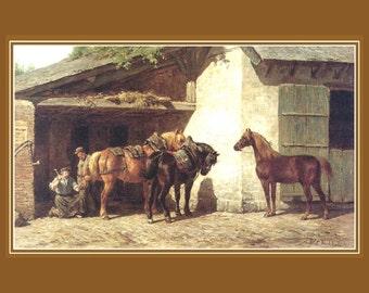 "Horses at the Blacksmith, Willem Karel Nakken, Dutch Painter 8x10"" Cotton Canvas Print"