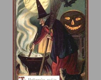 "Witch's Brew, Halloween, Holiday, Pumpkin, Cat, Bats, 8x10"" Cotton Canvas Print"