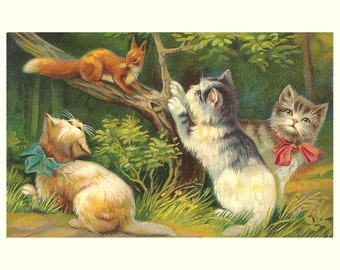 """8x10"""" Satin Canvas Print, Kittens and Squirrel at Play, Old Animal Print"""