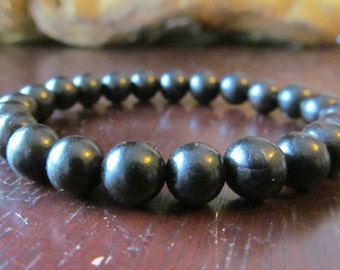 Black Ebony Bracelet, Beaded Bracelet, Wood Bracelet, Black Bracelet, Men's Bracelet, Gift for Men, Yoga Jewelry, Meditation, Boho, Energy