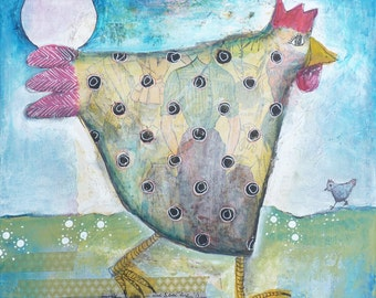 Original chicken painting. I used different techniques and different materials.