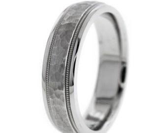 Hammered Men's Women's Wedding Band Matte Finish Ring 14K White Gold