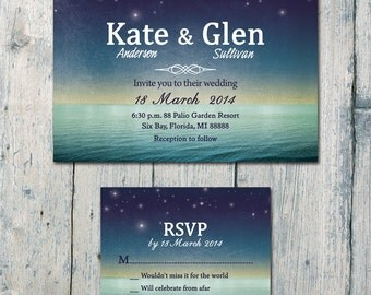 Digital - Printable Files - Above the Clouds and Sea Wedding Invitation and Reply Card Set - Wedding Stationery - ID351