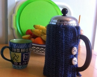 Bodum Cafetiere cosy french press Bodum Coffee 1 liter, steel blue with wooden buttons painted with daisies and a butterfly