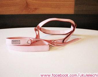 Xmas gifts Ukulele Strap Light Pink Color : Handmade Design From Leather for Ukulele Soprano,Concert Flexible Size By Ukulele ChillChill