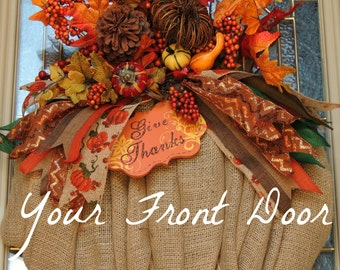 Deluxe Burlap Pumpkin Wreath - Fall Wreath - Pumpkin Wreath - Give Thanks - Thanksgiving Wreath
