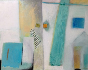 Mediterranean - Giclée print of original oil stick, mixed media painting on canvas, blues, white, mellow yellow, architectural