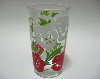 Vintage 1960's 70's    White Red Poppy Flowers Drinking  Glass   2015315 - 98