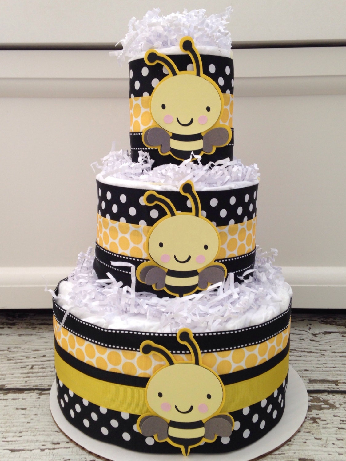 Designer Bumble Bee Baby Shower Diaper Cake Theme Centerpiece What Will It Reveal Decoration