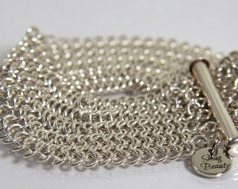 European 4in1 Chainmaille Bracelet - sterling silver