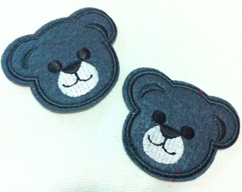 Lot Of 2 Pieces Dark Gray Cutie Bear (5.5 x 4.5) Embroidered Iron on Applique Patch (AL)