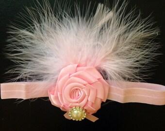 Pink Feather Pearl Headband/ Pink Flapper Headband/ Baby Girl Headband/ Newborn Photo Prop
