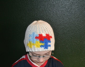 Autism beanie small puzzle (child and adult sizes), autism hat, puzzle piece hat