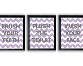 Purple Lavender Grey Gray Bathroom Nursery Art Child Baby Art Print Set of 3 Kids Wall Art Decor Chevron Wash Flush Brush